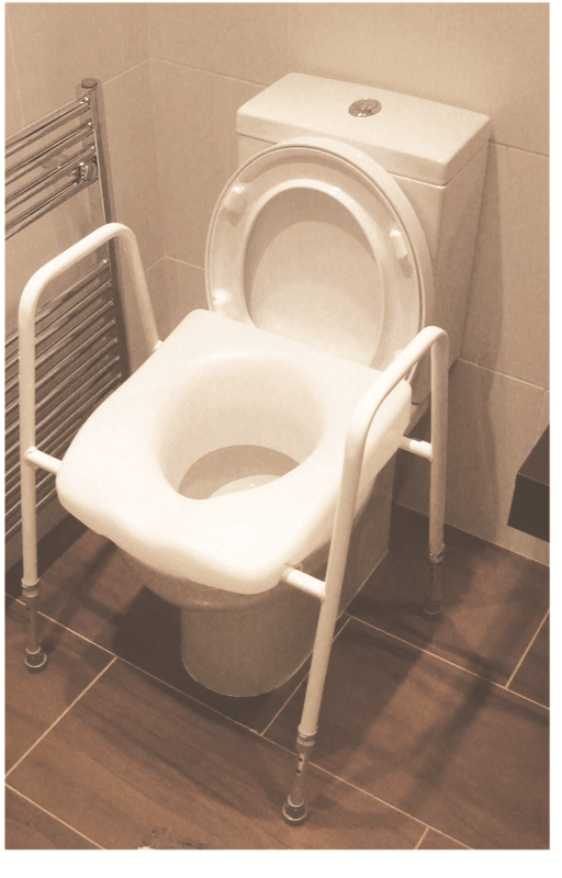 Raised Toilet Seat Frame with Clip on Raised Seat Installed