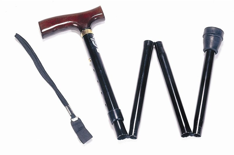 Adjustable folding walking sticks with wooden handles