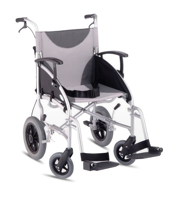 deluxe lightweight folding transit wheelchair with hand brakes z-tec