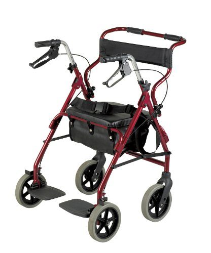 rollator and transit chair combo burgundy