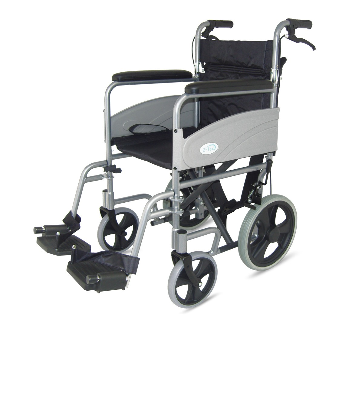 Folding Transit Wheelchair with attendant brake from z-tec