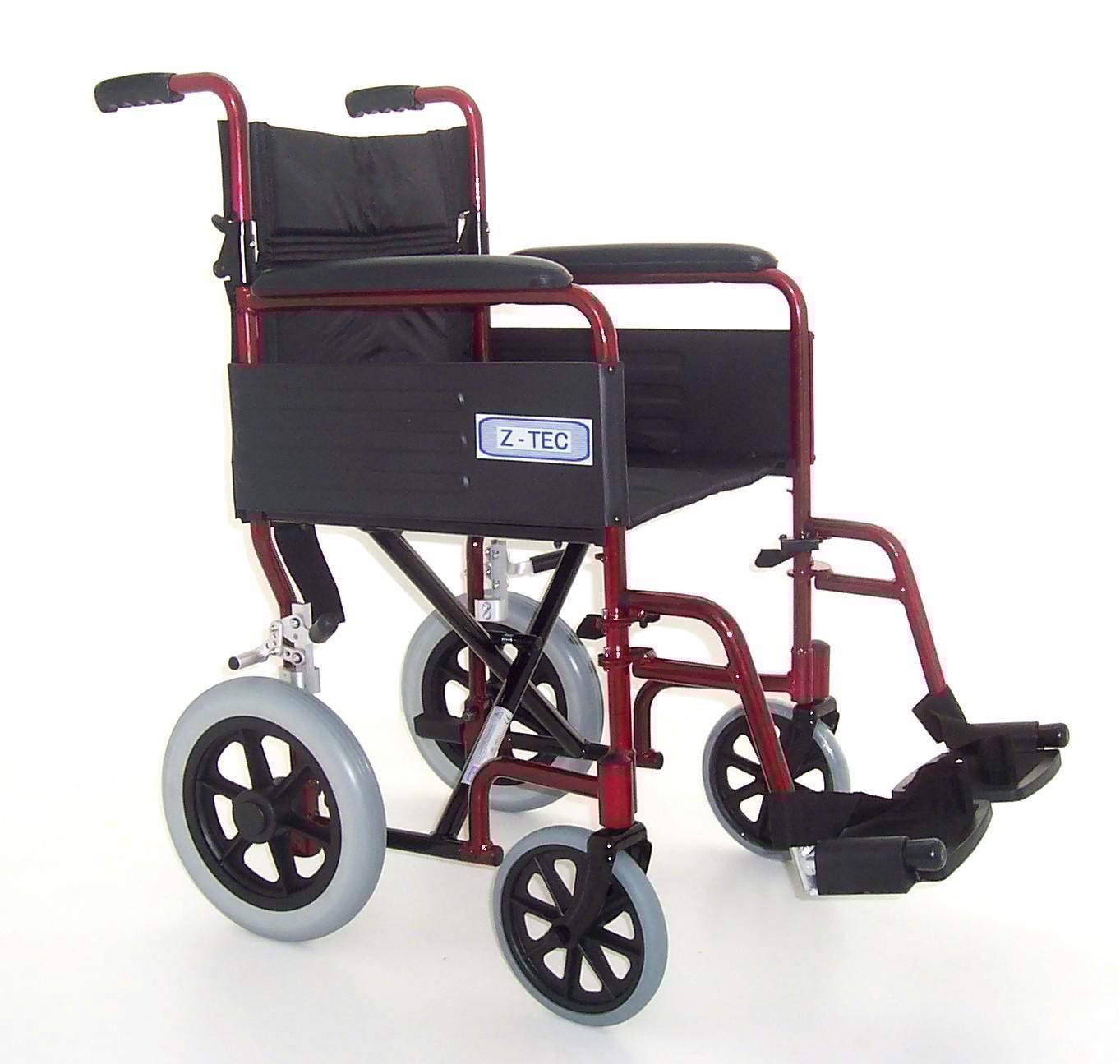 Lightweight Folding Transit Wheelchair Z-Tech Red